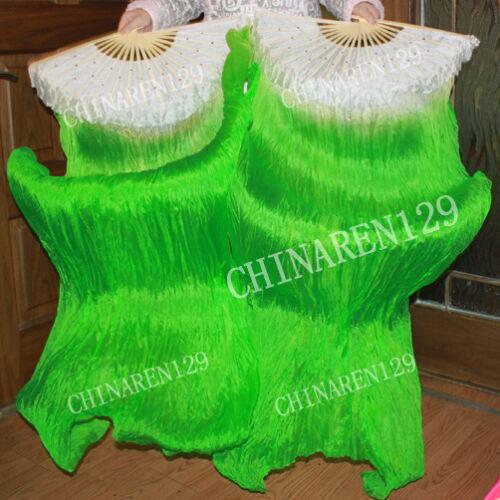 sale sale PAIRS 1.5M BELLY DANCE 100% SILK FAN VEILS  white green
