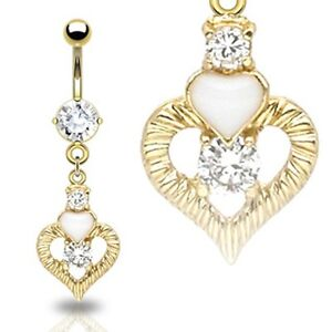 Gold-Plated-CZ-Dangle-Heart-And-Gem-Belly-Bar-Navel-Ring