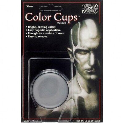 SILVER COLOR CUPS Tin Man Spaceman Mime Clown Face Makeup Costume Mehron - Halloween Mime Makeup Men