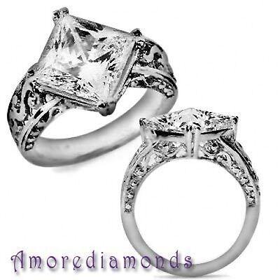 5.04 ct F SI princess cut diamond solitaire antique vintage style ring platinum