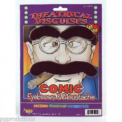 GROUCHO COMIC EYEBROWS & MOUSTACHE Joke Costume Black Fake Mustache Hairy Thick  (Costume Eyebrows)
