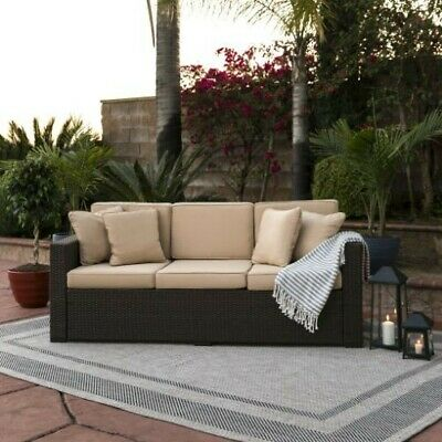 Best ChoiceProducts Outdoor Wicker Patio Furniture Sofa 3 Seater Luxury Comfort (Best Outdoor Wicker Patio Furniture)