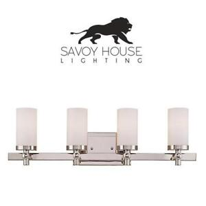 NEW 4-LIGHT BATH BAR VANITY LIGHT 8-1028-4-109 190090454 SAVOY HOUSE LIGHTING - POLISHED NICKEL - WITH WHITE GLASS