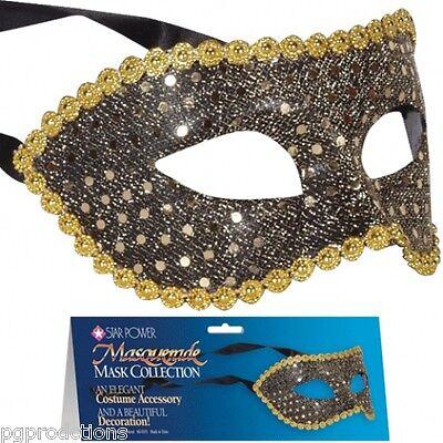 Black Sequin Masquerade Masks (SEQUIN HALF MASK VENETIAN Mardi Gras Masquerade Black Gold Glitter Costume)