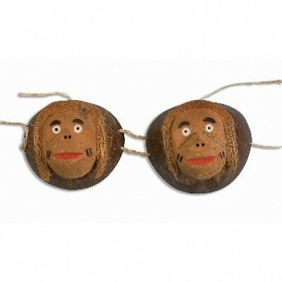 Funny COCONUT MONKEY BRA Hawaiian Costume Luau Bikini Top Wood Shell Cup Hawaii
