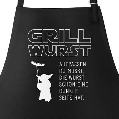 Grill-Schürze für Männer mit Spruch Grill Wurst Aufpassen du musst, die Wurst