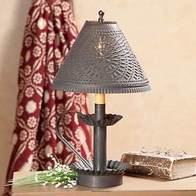 Plantation Candlestick - COUNTRY PLANTATION CANDLESTICK LAMP LIGHT in BLACKENED TIN WITH CHISEL SHADE