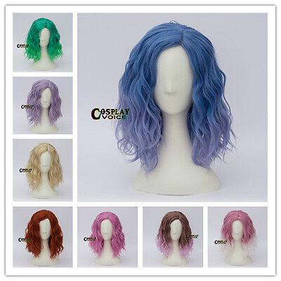 45cm Heat Resistant Curly Medium Lang Anime Cosplay Perücke 14 Farben Halloween  ()