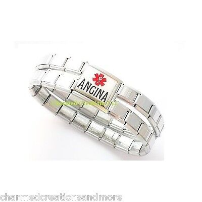 9mm Italian Charm Shiny Medical Alert Bracelet Angina Mega Link Heart Condition Shape Italian Charm