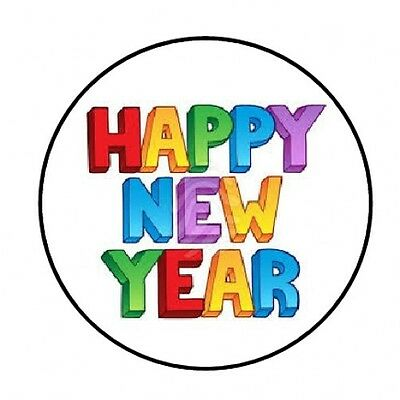 48 HAPPY NEW YEAR COLORFUL ENVELOPE SEALS LABELS STICKERS 1.2