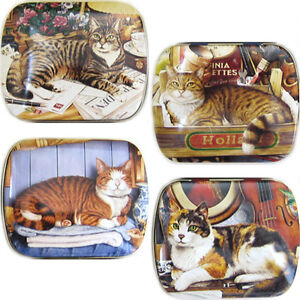 4 *CAT* TINS Geoff Tristram Accessory Box Gift Pill Storage Sweet Teeth Trinket