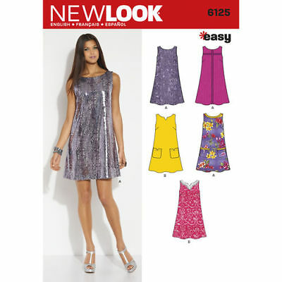 New Look 6125 Paper Sewing Pattern Misses' 10-22 Pullover A-Line Shift Dress