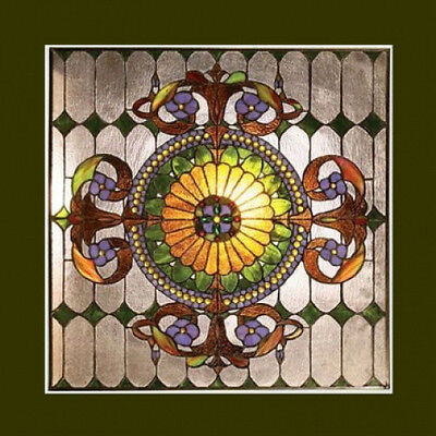 Window Panel Victorian Design Tiffany Style Stained Glass 25