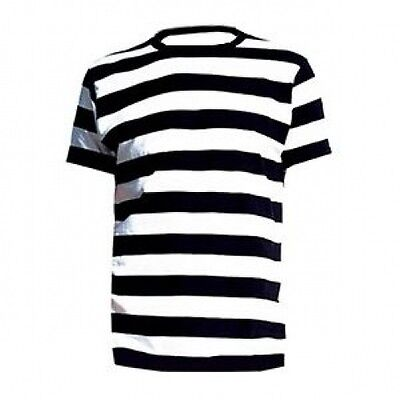 ADULT MEME FANCY DRESS PIRATE T SHIRT BLACK WHITE STRIPED MIME CONVICT GRANNY](Female Mime Costume)