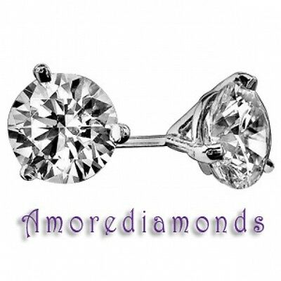 2.1 ct GIA triple excellent F VS2 round diamond 3 prong martini stud earrings