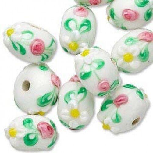 12 Pretty Rondelle Lampwork Glass Beads White w Flowers