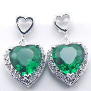 925 Sterling Silver Emerald Earrings