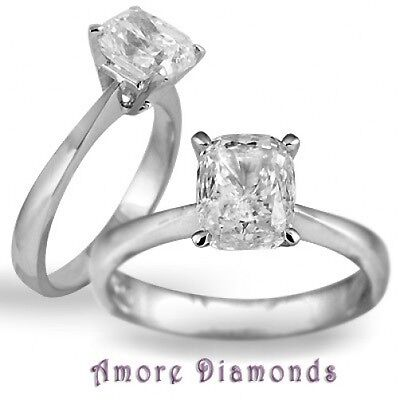 1.7 ct GIA H VS2 natural cushion diamond platinum solitaire engagement ring