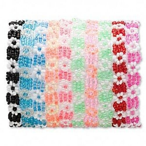 Wholesale Lot 10 Flower Glass Seed Bead Girly Bracelets