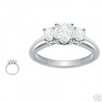 3.31 ct GIA I VVS2 round natural diamond engagement 3 stone ring platinum size 5