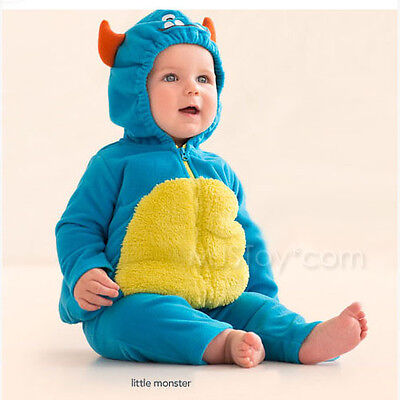 NWT Carter's 2 Pcs Halloween Blue Monster Warm Bubble Baby Fleece Hooded Costume