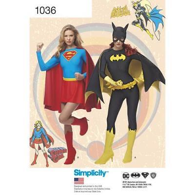 Simplicity Pattern 1036 Misses' Supergirl and Batgirl COSPLAY Costumes R5 - Batgirl And Supergirl Costumes