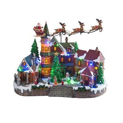 Animated Santa Village Scene LED Lights Accent The Snowy Village Scene FREE SHIP