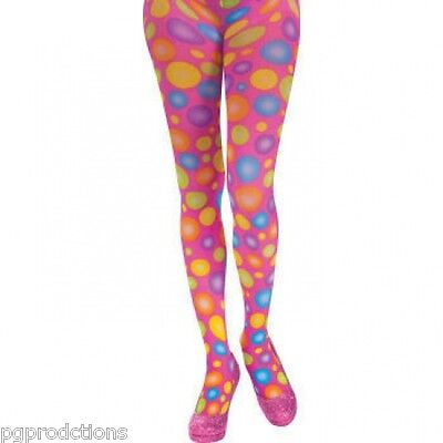 CIRCUS SWEETIE CLOWN POLKA DOT PANTYHOSE Tights Pink Costume Girls Adult Funny