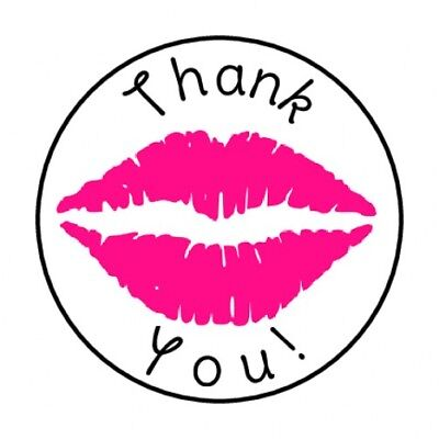48 Thank You Pink Lips Envelope Seals Labels Stickers 1 2  Round