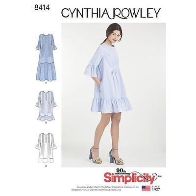 Simplicity 8414 aka 0752 Sewing Pattern Misses Size 6 XS - 24 XL Pintuck Dress