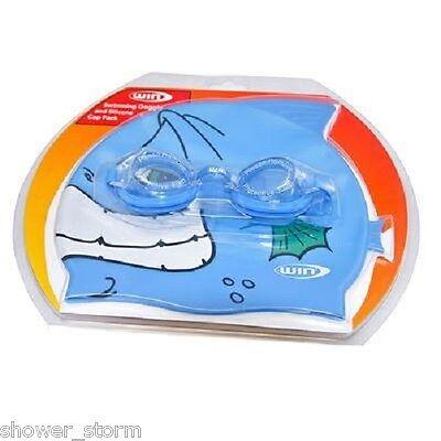 Wim Junior Swim Cap and Goggles Set NEW Swimming Hat Silcone Unisex Fish  - Cap And Goggles