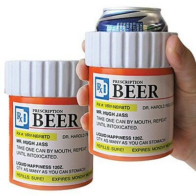 ( 2 ) BEER PRESCRIPTION Koozie Drink Soda Can Beer Big Mouth Toys Insulated Foam