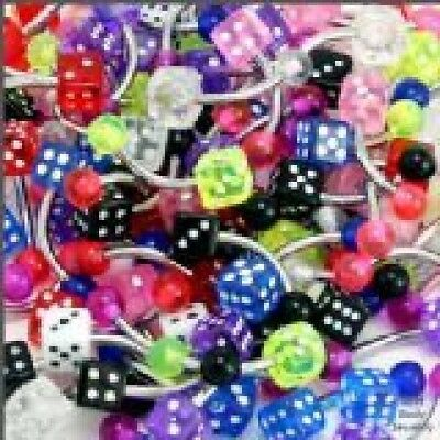 5 14g UV Dice Belly Button Rings WHOLESALE Lot No Dups - $1.99
