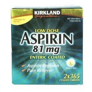 LOW DOSE ASPIRIN 81 mg 730 Tablets asprin generic kirkland 2 x 365 ct
