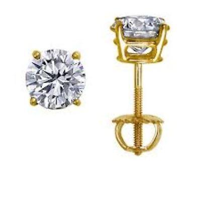 3 ct White Sapphire Round Stud Earrings~14k Yellow Gold overlay ~ Screw back