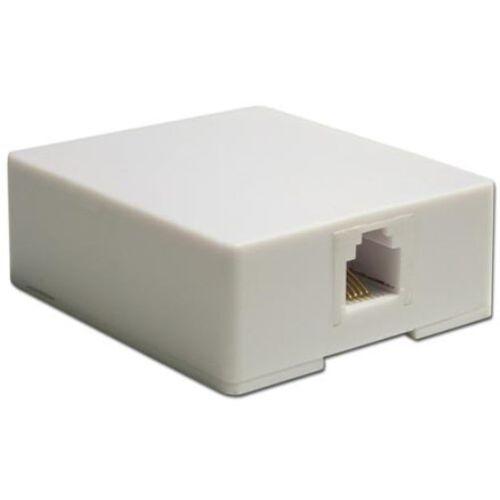 Modular Surface Mount Phone Jack, 4 Wire, White