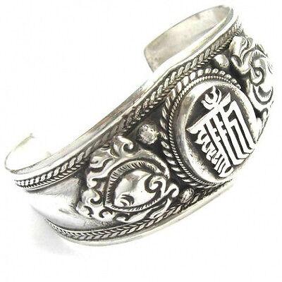 Huge Nepal Carved Kalachakra Two Big Dorje Amulet Cuff Bracelet -Very Mighty!