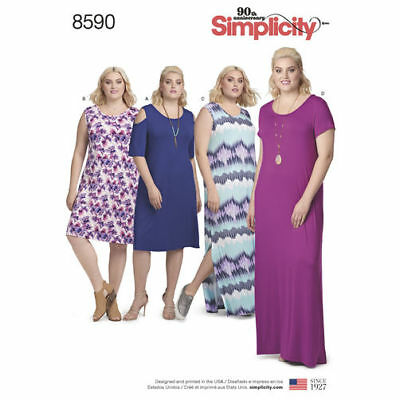 Simplicity 8590 Sewing Pattern Woman's 1X - 5XL Pullover KNIT Dress Bust to 62""
