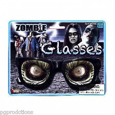 BLOODY ZOMBIE GLASSES Nerd Fake Blood Dripping Black Eye Scary Monster Costume
