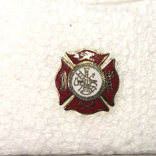 """Fire Department Maltese Cross  Red and Gold tone""""  Hat Pin /Lapel Pin"""