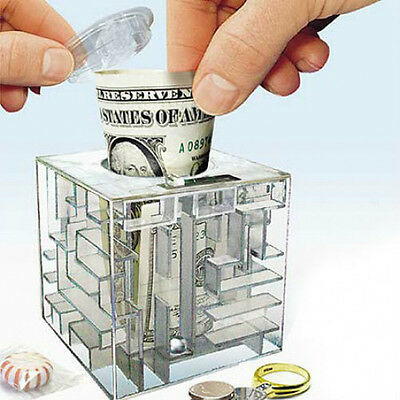 MONEY MAZE COIN BOX PUZZLE GIFT GAME PRIZE SAVING BANK