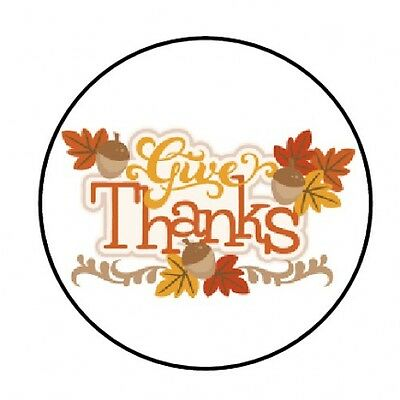 48 GIVE THANKS THANKSGIVING FALL ENVELOPE SEALS LABELS STICKERS 1.2