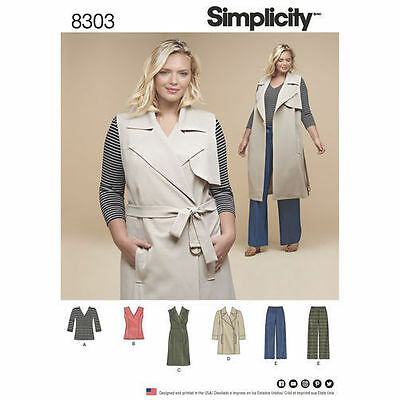 Knit Coat Pattern - New Simplicity Sewing Pattern 8303 Knit Top Coat  Pants Plus Size Spring 2017