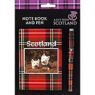"Scottie Dog Tartan Notebook and Pen Gift Set ""A Gift From Scotland"""