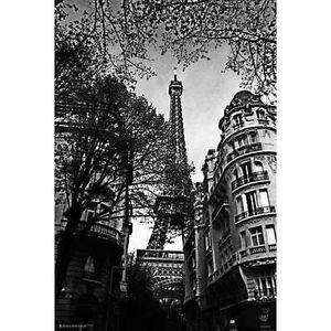 EIFFEL TOWER - BLACK & WHITE ART POSTER - 24x36 PARIS FRANCE 10255