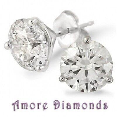 10.15 KT H Si3/I1 Rotondo Diamante a Bottone Solitario Orecchini 14k Oro Bianco