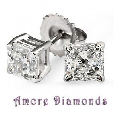 1.6 CT GIA G VS2 PRINCESS DIAMOND SOLITAIRE STUD EARRINGS PLATINUM PUSH BACKS