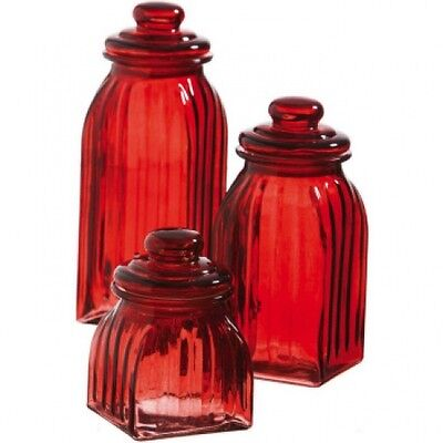 NEW RED GLASS SQUARE RIBBED CANISTER SET ...
