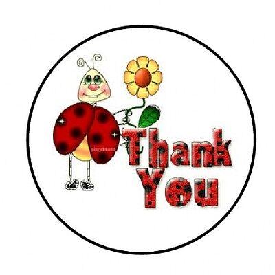 Ladybug Stickers (48 THANK YOU LADYBUG ENVELOPE SEALS LABELS STICKERS 1.2