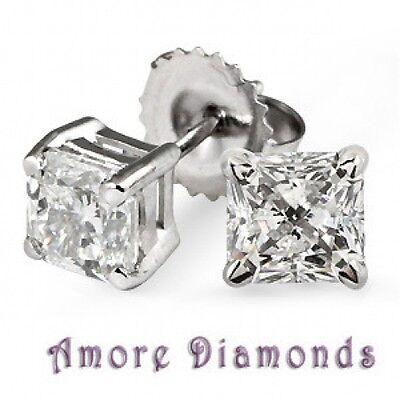0.40 ct GIA D VS2 princess cut natural diamond stud earrings 18k white gold
